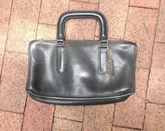 1970s COACH Handbag Black Leather