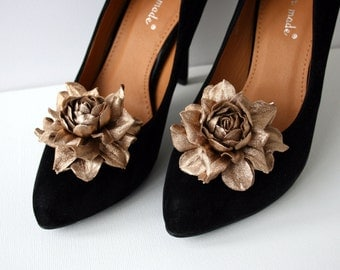 Gold Leather Rose Flower Shoe Clips