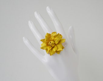 Yellow leather rose flower ring