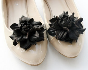 Brown Leather Rose Flower Shoe Clips