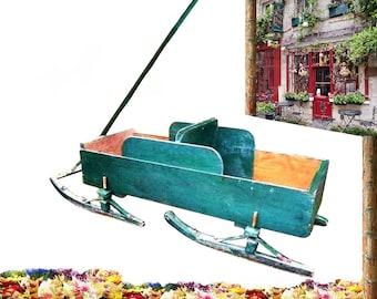 Rare 1920s Antique Pine Iron Mercantile Paris Toy Mfg Co Primitive Farmhouse Wagon RARE Bob Sled Childs Sleigh Porch Flower Box Cart Planter