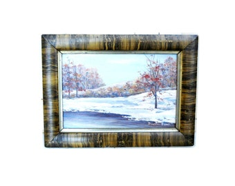 Antique 1930s Impressionist Winter Landscape Painting Signed Victorian to Arts & Crafts Plein Air Oil on Board Autumn Trees Snow Painting