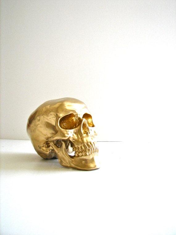 Skull Head in GOLD: Mr. Smiley / faux human skull / fake skull / office / home school decor / cranium / skeletal system / bones / Halloween