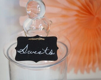 20 x BLANK Chalkboards Tags for gifts, favours, table numbers or candy buffet - Ready to ship - Table numbers, Buffet Labels.