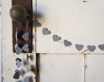 Heart of Stone Paper Garland Cement Grey Gray Cardstock Wedding Bridal Shower Birthday Baby Nursery Boho Decoration