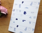 Clothes on a Line Notecard in Blue and White (Blank) 4x6