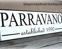 large personalized WEDDING GIFT  Family Established Painted Sign - distressed white with chocolate brown letters