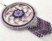 Purple White Clear Authentic Native Made Beaded Dream Catcher