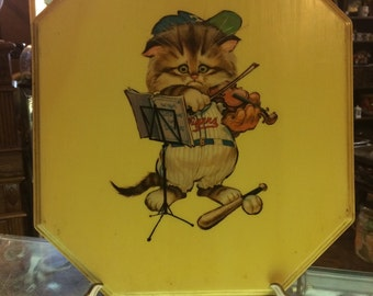 Vintage mid century modern silly fun Kitty cat  playing violin baseball nursery wall plaque art free shipping hand made