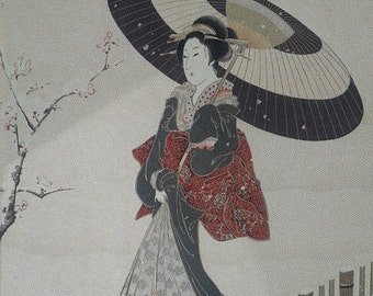 "GEISHA Oriental Japanese Vintage Painting on Silky Fabric Canvas Signed 24""x28"" no frame"