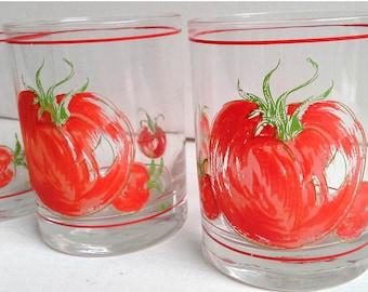 Vintage Cora Tomato Pattern Glassware - Set of 4