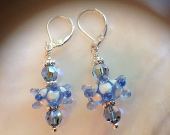 Dangle Earrings Blue Lampwork Glass Sterling Silver Earrings