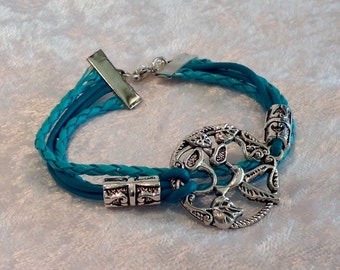 Turquoise Leather Bracelet Silver Charms