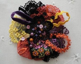 """Bohemian chic style brooch . Baroque brooch Art to wear. One of a kind brooch """"Abigaèl"""""""