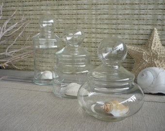 Set of 3 Vintage Apothecary Jars, Glass Display Jars, Bubble Lids, Cottage Decor, Shabby Chic