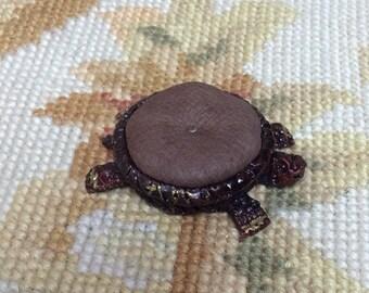 Turtle Foot Stool Ottoman - by Pat Tyler Leather Dollhouse Miniatrues trues