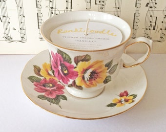 Pink & Yellow Floral Teacup Candle
