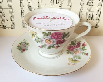 Pretty multi Floral Teacup Candle