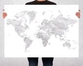 Countries Names World Map Art Print Poster  - Travel Map World Map - Pin Trip Adventures, Decor Map, Summer Gift Idea  - Medium - XLARGE
