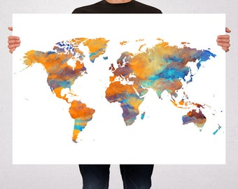 Watercolor World Map Poster Art Print Special Design, Summer Gift Idea, Wall Hanging, Travel World Map, Art - Large - Medium