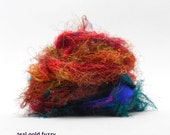 vintage sari silk ribbon - 9 feet, fuzzy teal-gold (inv s-30)