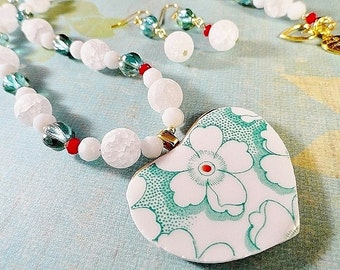 Aqua Heart Necklace Set Art Deco Style Vintage China Tile Pendant Aquamarine White Red Mothers Day Valentines Day Gift For Her JewelryByPJ
