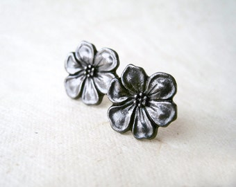 Black Flower Earrings. Dark Metallic Grey Gunmetal Floral Stud Earrings. Apple Blossom Earrings. Charcoal Grey Bridesmaids Jewelry.