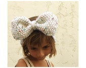 Girls Knit Big Bow Headband - Confetti Heather Bow Head Band