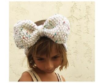 Girls Knit Big Bow Headband - Confetti Heather Bow Head Band