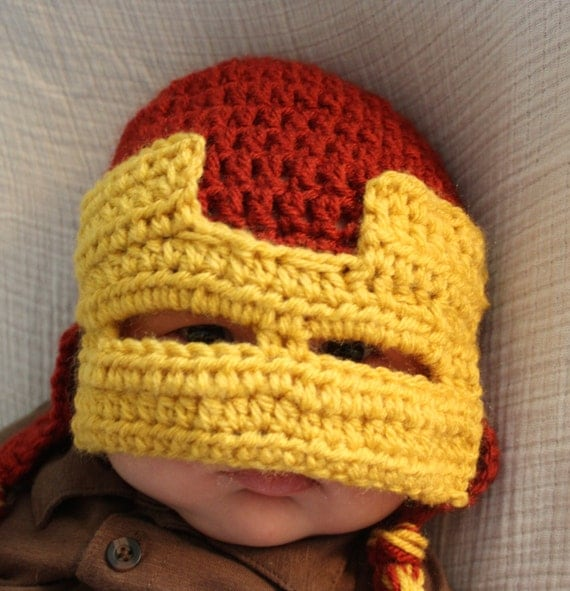 Free Crochet Pattern Iron Man Hat : Iron Man Hat Crocheted Iron Man Hat Iron Man Avengers by ...