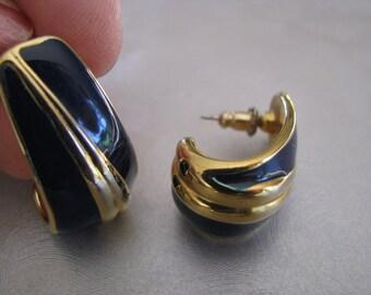 Navy Blue Vintage Stud Earrings - Navy Blue Posts - Vintage Stud Earrings
