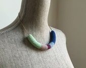 Crochet Vintage Chain Necklace // Mint, Purple + Blues