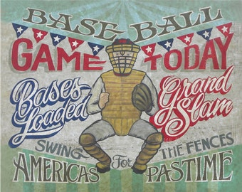 Vintage Baseball Game Day Print