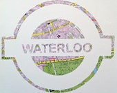 Vintage Map Art // LONDON UNDERGROUND // hand made paper cut from a vintage map of Greater London // WATERLOO Tube station