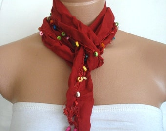 SALE Red Cotton Scarf, Cotton Necklace, cowl, beaded Belt, Headband, Neck wrap Gift for woman, Turkish Scarf Yemeni