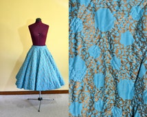 1950s Vintage Alex Coleman Quilted Full Circle Skirt size S waist 26