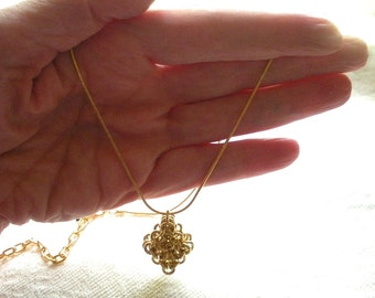Raw Brass Chainmail Pendant, Chain Maille Jewelry, Unisex Pendant, Gold Plated Chain, Unisex Gift, Handmade Gift
