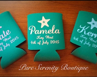 Personalized can cooler, wedding favors, wedding can coolers