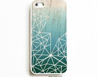 iPhone 5 Rubber Case. iPhone 5S Case. Deep Teal Ombre Geometric. iPhone 5S Cases. Rubber iPhone Cases. Phone Case.