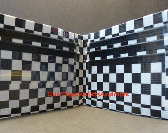 Handmade Duct tape wallet Black and White Checker
