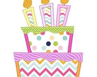 Birthday Cake Applique Embroidery Design - Instant Download