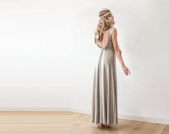 Backless gold gown, Maxi gold formal dress , Sleeveless gold dress 1062