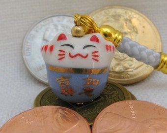Lucky Beckoning Fortune Cat Double-Sided Porcelain Handbag/Cellphone Charm with Blue Braided Strap/Lanyard and Bell. BLUE