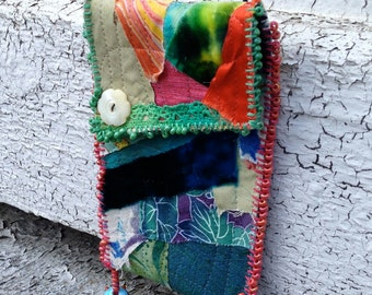 SALE - Colorful Fabric Festival Bag Necklace with glass beads - just reduced!