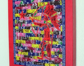 Native American shooting star with a bow, Tootsie Pop wrapper art, art quilt on canvas