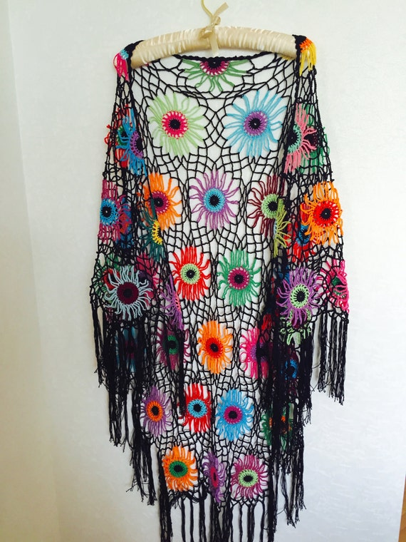 Crochet Pattern For Bohemian Shawl : Colourfull Crochet Shawl Boho Gypsy Shawl Hippie Patchwork