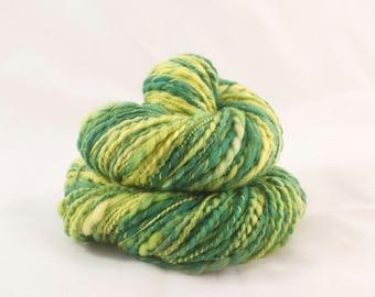 Handspun Yarn Superwash Merino Green and Yellow 121m