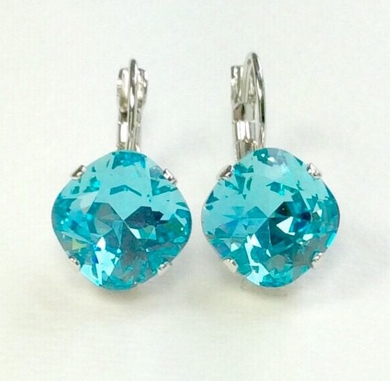 Swarovski Crystal 12MM Cushion Cut, Lever- Back Drop Earrings - Designer Inspired - Lt. Turquoise - On SALE - FREE SHIPPING