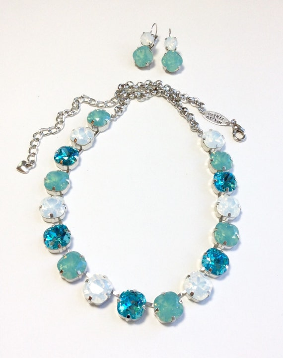Swarovski Crystal Necklace - All 12MM Cushion Cut Square Stones-  Now On Sale - Lt. Turquoise, Pacific & White Opals - FREE SHIPPING
