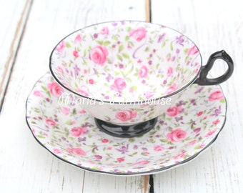 Rare, Vintage English Bone China, Footed, Wide Mouth, Tea Cup & Saucer by Royal Chelsea, Du Barry/Briar Rose Chintz Pattern - c. 1943 - 1966